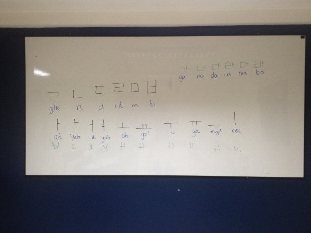 Using my no-show Peruvian class to practice Korean.